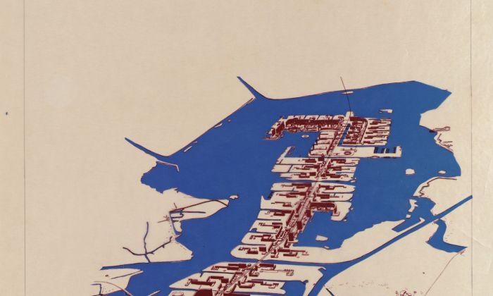 Van den Broek en Bakema. Expansion plan Pampus. Liniair city in IJ-meer for 350.000 habitants, 1964-65.