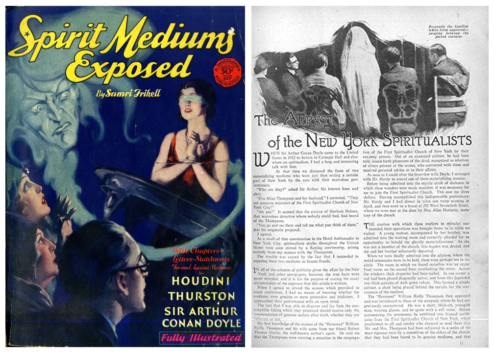 """Cover and interior page of Samri Frikell's, """"Spirit Mediums Exposed"""""""