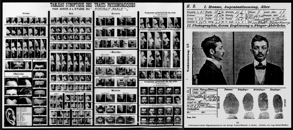 Alphonse Bertillon, Anthropometric data sheet and Identification Card, 1896.