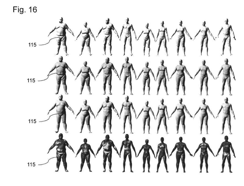 "06 CAESAR database used as training set in the research towards a parametric three-dimensional body model for animation. ""Method for providing a threedimensional body model,"" Max-Planck-Gesellschaft zur Förderung der Wissenschaften e.V., 2015."