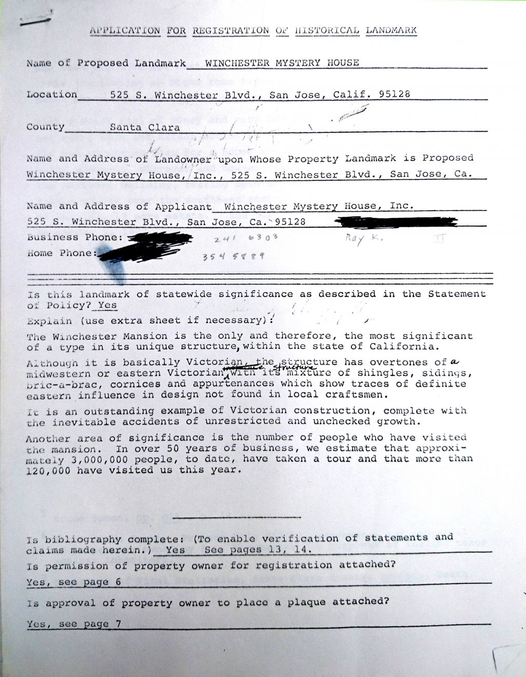 Winchester Mystery House Application for Registration as Historical Landmark in 1974 (source: Anne Garner Papers, History San Jose)