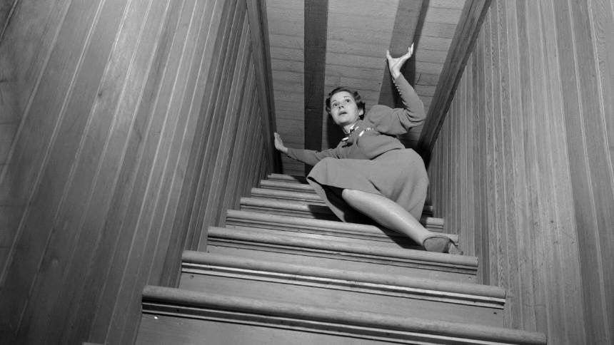 The stairwell to nowhere at the Winchester Mystery House (source:  Bettmann Archive, Getty)