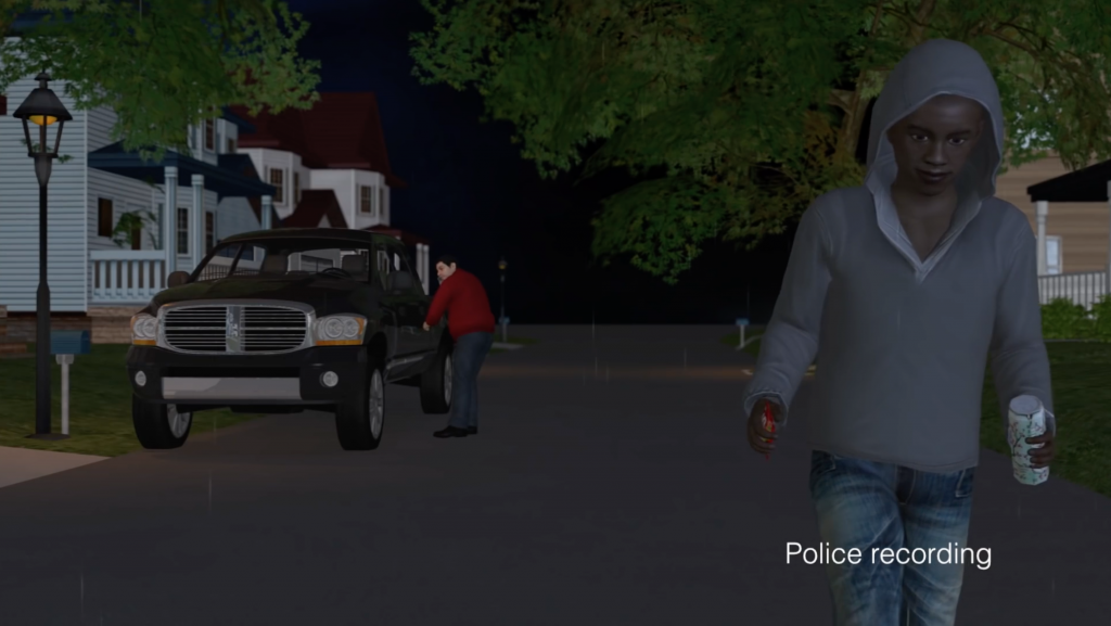"3D animation by Reuter's owned News Direct ""Transform your News with 3D Graphics"", ""FBI investigates George Zimmerman for shooting of Florida teen, Trayvon Martin"" News Direct, 2012."