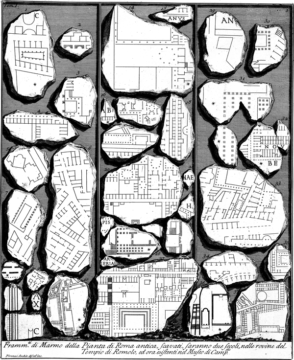 Giovanni Battista Piranesi, Forma Urbis Romae, from Antichità Romane, 1756.