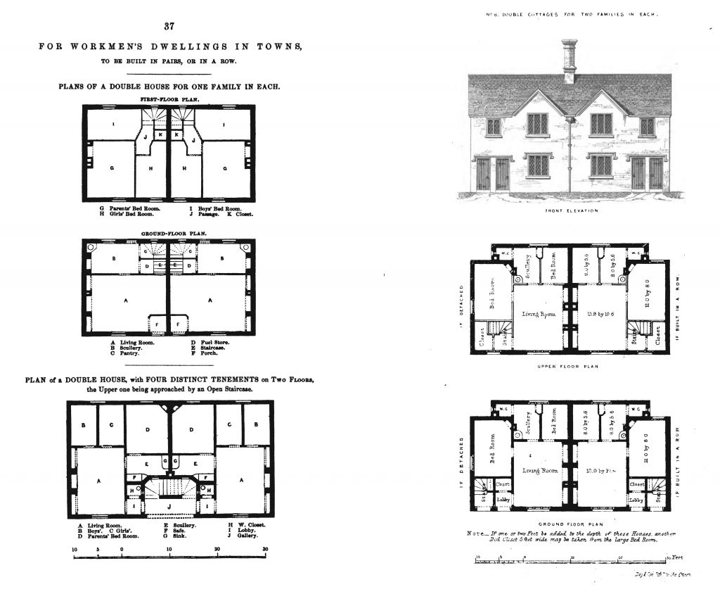 Left: Workers Dwelling in Towns. Right: Double Cottages for Two Families. From Henry Roberts, The Dwellings of the Labouring Classes, 1850.