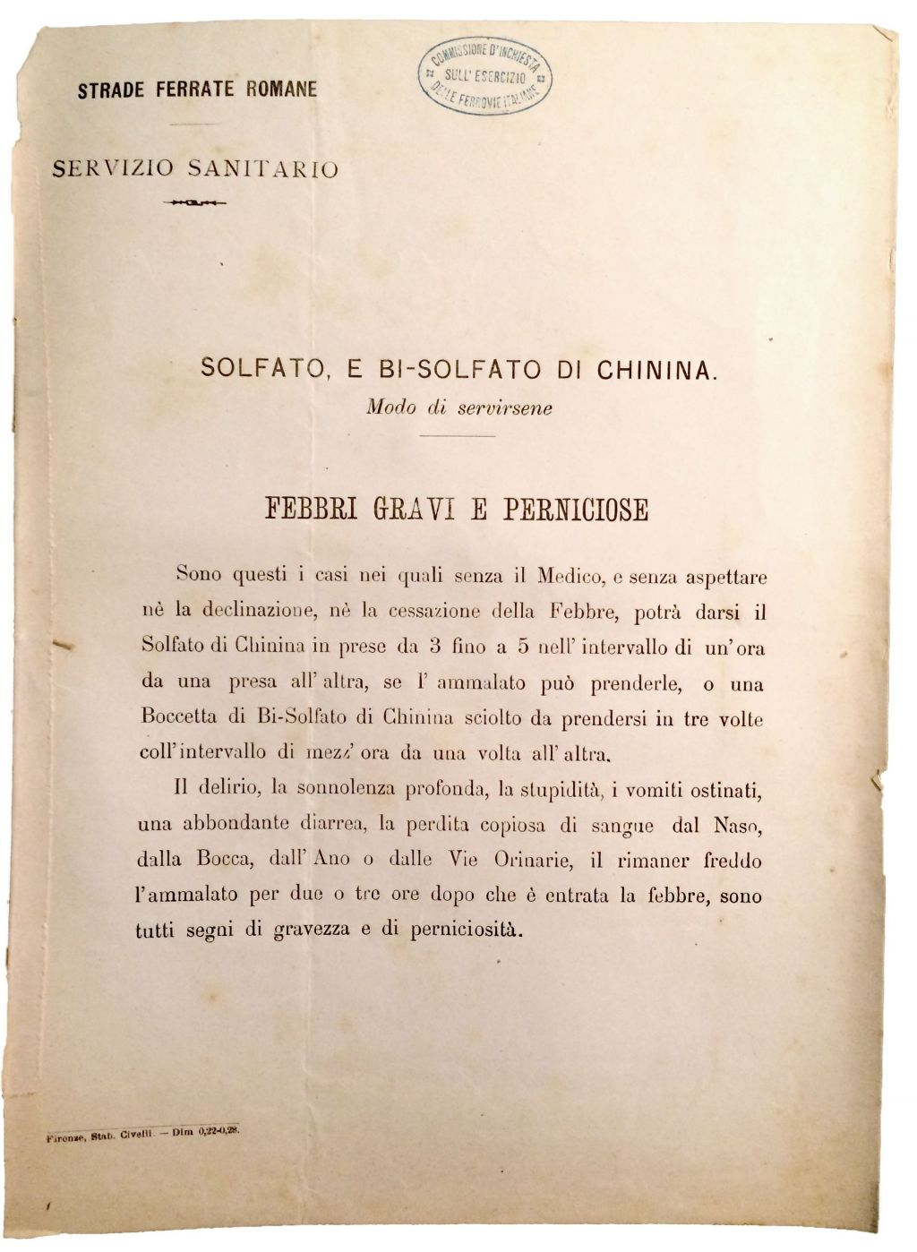 Instructions for the treatment of acute malaria using quinine by the Roman Railways Health Services. Quinine was distributed to all their employees in 1879, a measure which was later implemented across Italy. Archivio Storico del Senato, Rome