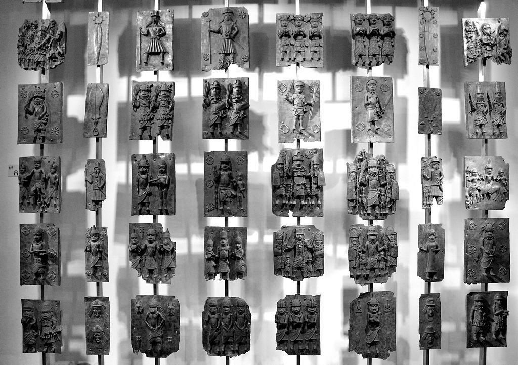 Cast-brass plaques from Benin City in the British Museum, London. Photo by Andreas Praefcke, from Wikimedia Commons.