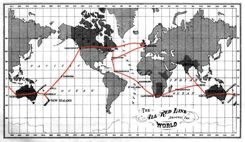 """The British colonial """"All Red Line"""" as the backbone for the physical infrastructure of the internet and the global financial system. Source: George Johnson, The All Red Line–The Annals and Aims of the Pacific Cable Project, 1902–03."""