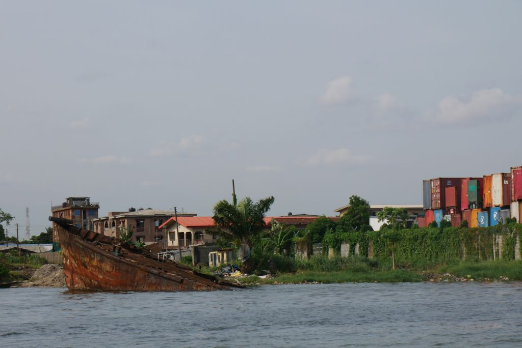 Shipwreck and shipping containers, Apapa Lagos. Photo by Dele Adeyemo.