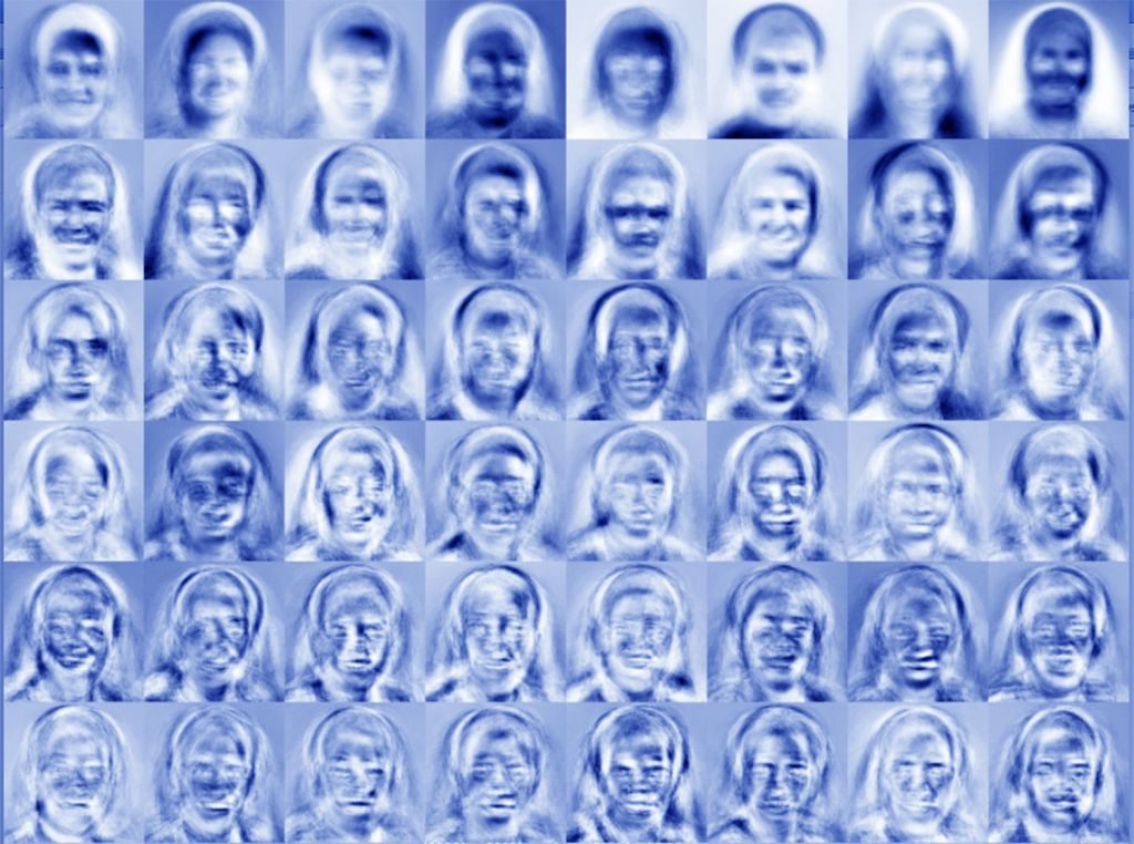 Eigenfaces produced by bots. Photo: Robin Bergman.