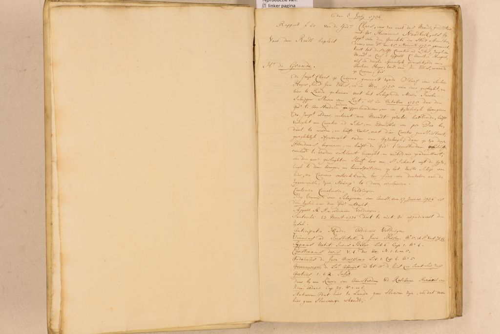 Scan of a 1736 ruling in the case of Claes, signed by presiding judge Cornelis van Bynkershoek of the Supreme Court of Holland and Zeeland. © Geographies of Freedom.