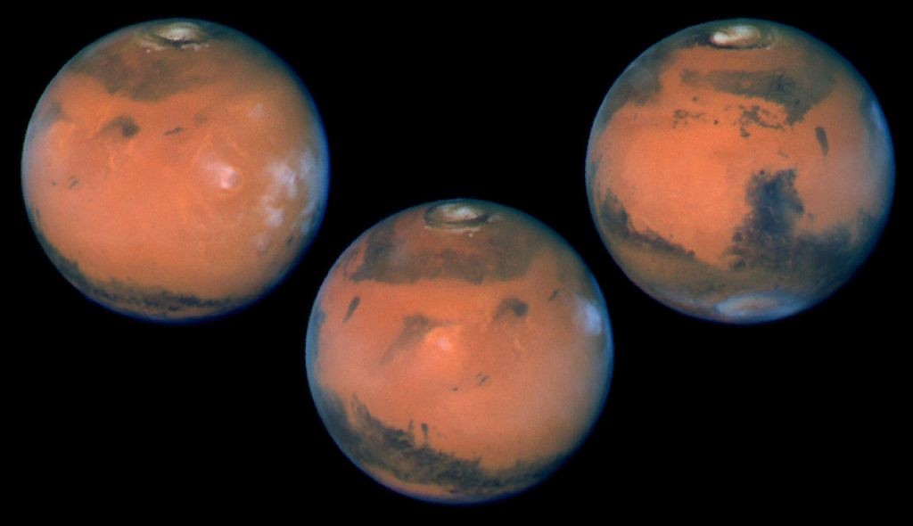 Images of Mars, taken by HST's Wide Field Planetary Camera-2 on March 10, 1997, just before Mars opposition, when the red planet made one of its closest to the Earth (about 60 million miles or 100 million km). These pictures were taken during three HST orbits that were separated by about six hours. rs.