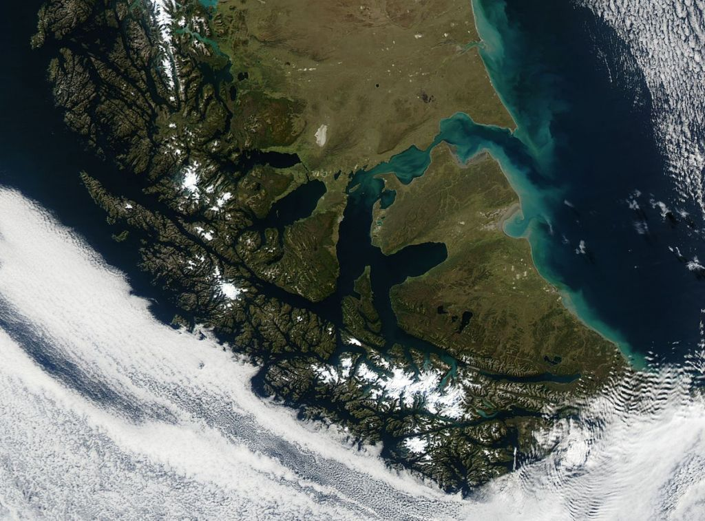 A true colour image of Tierra del Fuego and the Strait of Magellan captured sunbathing by NASA's Terra satellite on March 28, 2003. Image courtesy of MODIS Land Rapid Response Team at NASA GSFC.