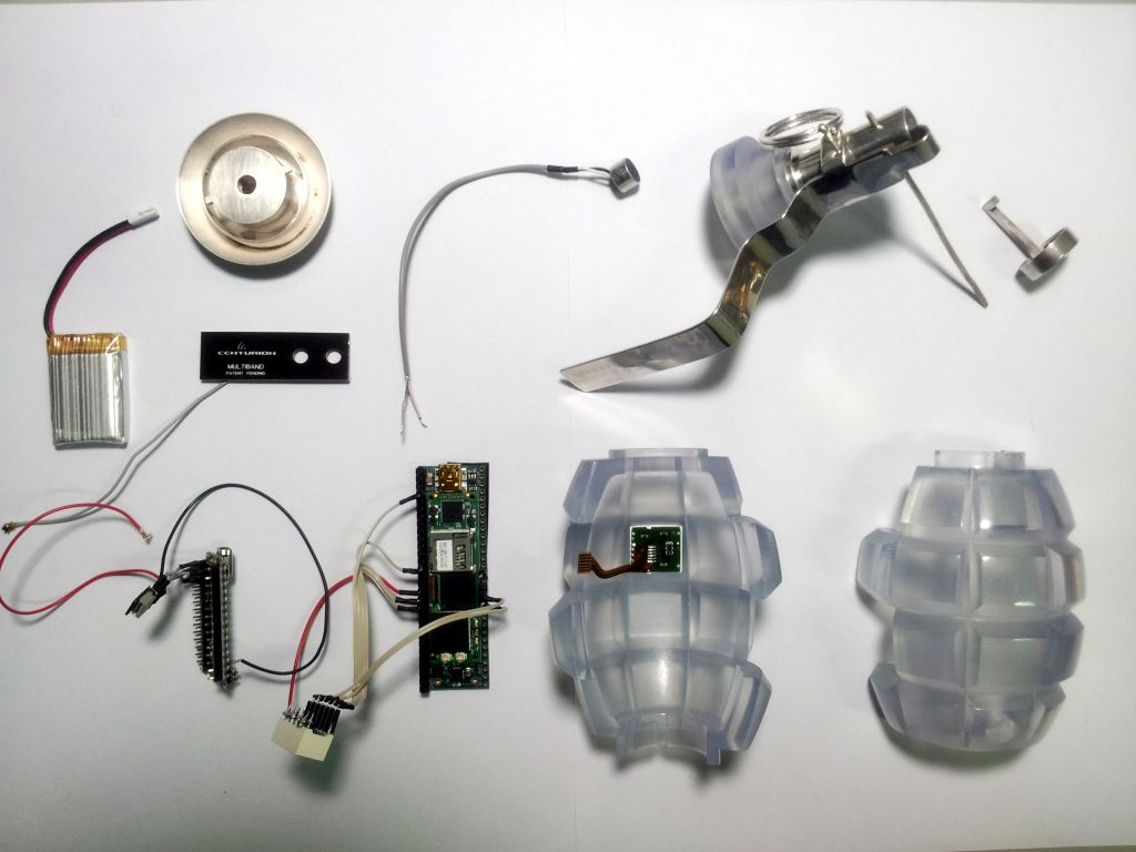Transparency Grenade, prior to assembly. Photo Julian Oliver, co-author of the Critical Engineering Manifesto.